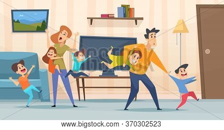 Tired Parents. Mother And Father Playing With Kids In Living Room Interior Screaming Children Depres