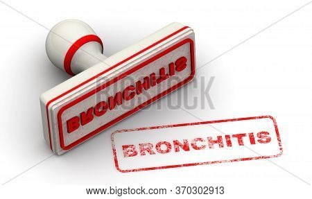 Bronchitis. The Seal. One White Seal And Red Imprint Bronchitis (inflammation Of The Mucous Membrane