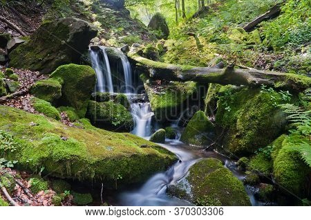 A Small Waterfall In The Carpathians. Carpathian Mountains
