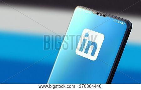 Kyiv, Ukraine-june, 2020: Linkedin. Studio Shot Of Smart Phone With Linkedin Mobile Application On B