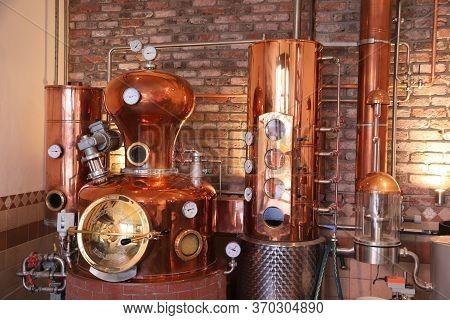 Nuremberg, Germany - May 7, 2018: Whiskey Distillery In Nuremberg, Germany. Hausbrauerei Altstadthof