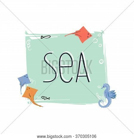 Sea Or Ocean Wildlife Banner Template With Stingray Skate Fish And Seahorse, Bubbles And Sea Grass B