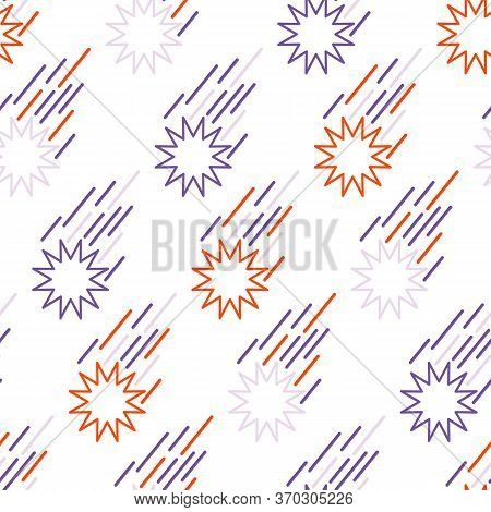 Seamless Pattern Meteor Or Shooting Star. Cosmos Background With Space Elements, Stars, Comets, Mete