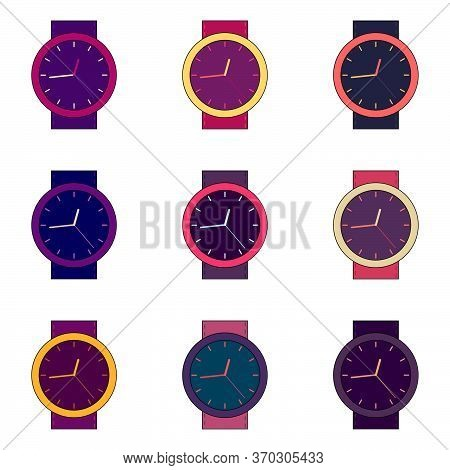 Set Of Bright Multicolor Purple Simple Wristwatches. Seamless Pattern In Flat Style. Vector Illustra