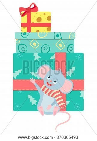 Сute Smiling Little Mouse In Scarf Is Sitting Near Gift Boxes. New Year Greeting Card, Poster, T-shi