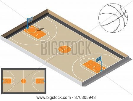 Basketball Court Isometry. Basketball Ball Silhouette. For Your Business Project. Vector Illustratio