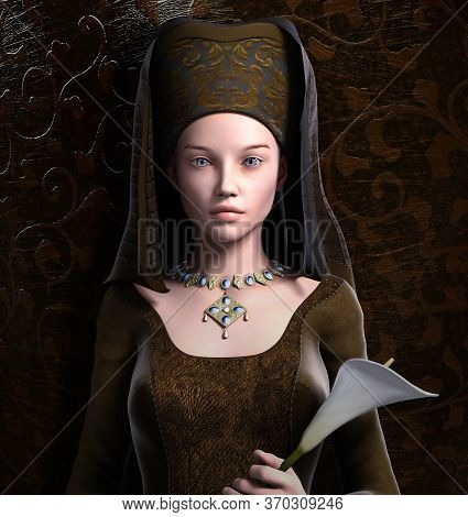 Elegant Medieval Woman With Headpiece And A Flower - 3d Illustration