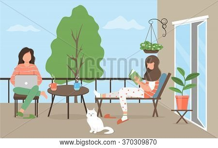 Two Female Characters Are Resting On The Balcony. Lgbt - A Pair Of Two Girls Spend Time Together. Re