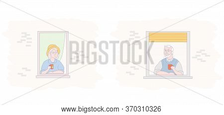 Windows With Elderly Couple.two Flat Characters - An Elderly Man And A Woman - Neighbors Communicate