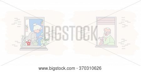 Windows With Elderly Couple. The Facade Of The House With Open Windows And Neighbors. An Old Man Wit