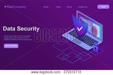 Cybersecurity Isometric Icon, Data Security Concept, Protected Computer Network, Shield With Laptop,
