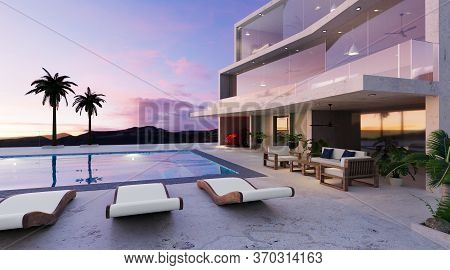 3d Render Of Modern Two Story House With Swimming Pool. Twilight Scene Of Building And Furniture Nex