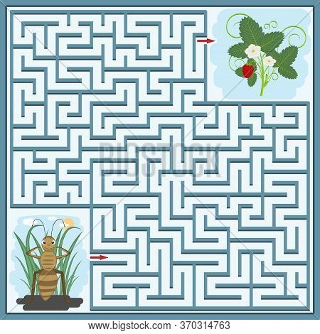 Maze Puzzle With The Image Of An Ant And A Strawberry Bush, You Need To Find The Right Way Through T