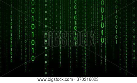 Abstract Green Futuristic Cyberspace With Stream Of Binary Code, Matrix Background With Digits. The