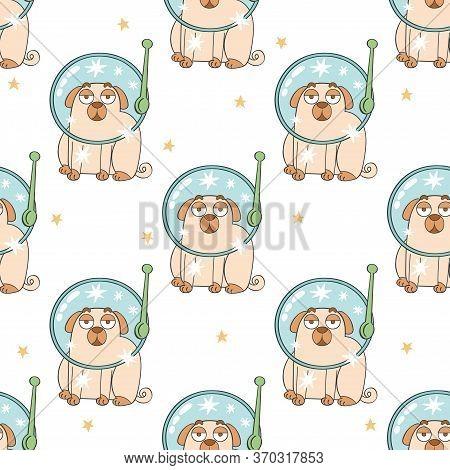 Cosmonaut. Helmet Astronaut. Cute Cartoon Pug. Pug Puppy. Cartoon Animal. Seamless Vector Pattern (b