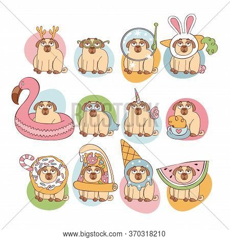 Cute Cartoon Pugs. Puppies Pugs. Cartoon Animal. Set. Isolated Vector Objects On A White Background.