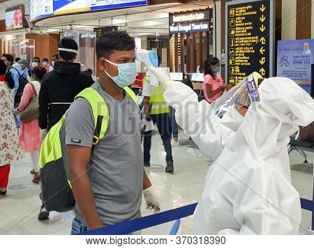 6th June 2020- Bagdogra Airport, Siliguri, West Bengal, India-passengers In Protective Gear Being Th