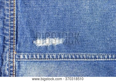 Texture Of Blue Denim Closeup. Abstract Denim Fabric Texture. Womens Or Mens Trend Clothing, Fashion