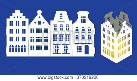 Led Light Lantern For Paper Laser Cut. Scalable Vector Graphics. Silhouette Of Amsterdam Style House