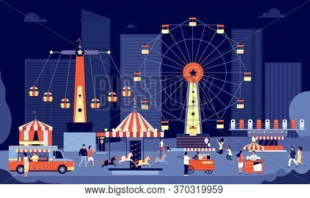 Night Market. Nighttime Fair, Crowd People Outdoor Eating Walking. Amusement Park Panorama, Summer E