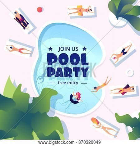 Pool Party. Summer Swimming Event Flyer. Water Splashing, Resort Or Vacation Festive Banner Design.