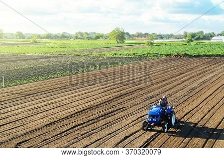 Farmer On A Tractor Cultivates A Farm Field. Grinding And Loosening Soil, Removing Plants And Roots