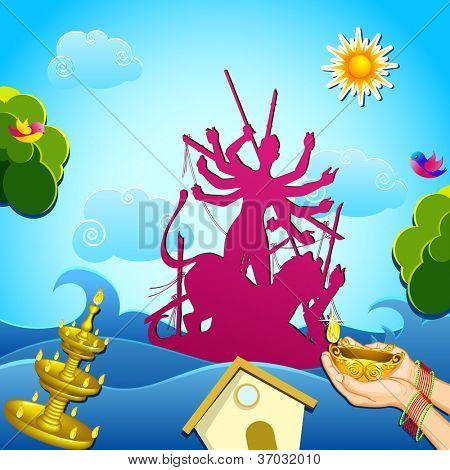 illustration of immersion of goddess Durga in river
