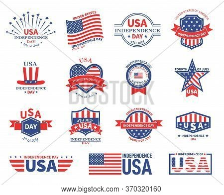 Independence Day Usa. American Flag, Patriots Celebrate Freedom. Patriotic Celebration Badges. Unite