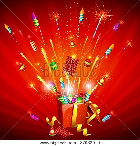 illustration of explosion of firecracker from gift box