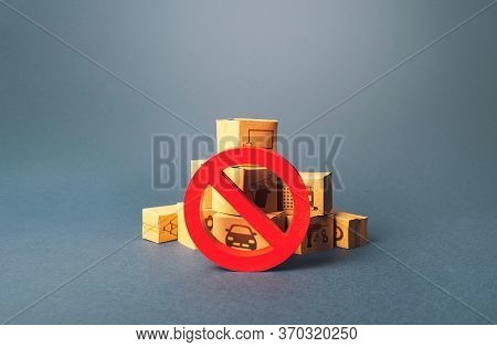 Boxes And Red Prohibition Sign No. Lack Of Goods And Stable Deliveries. Shortage Of Products Deliver