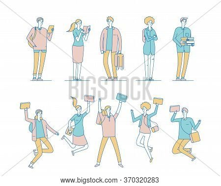 Students With Books. Calm Funny Teens. Students With Bags And Textbooks. Isolated Flat Happy Jumping