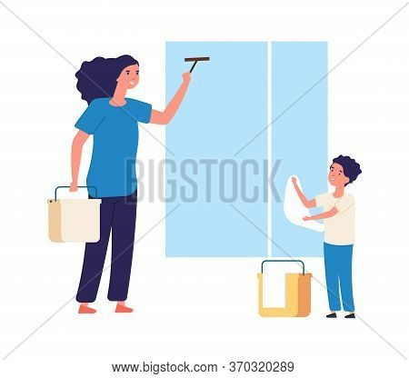 Washing Windows. Spring Home Cleaning, Clean Equipment. Mother Son Near Window With Fabric. Cleaners