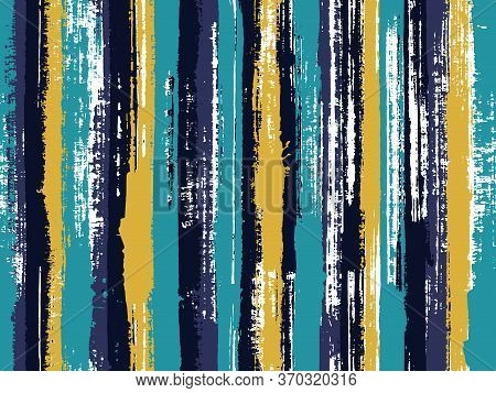 Watercolor Strips Seamless Vector Background. Striped Tablecloth Textile Print. Decorative Bright Pl