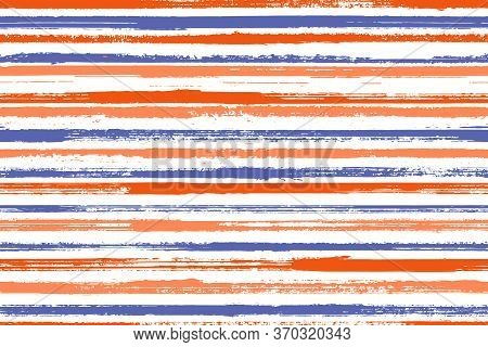 Watercolor Brush Stroke Rough Stripes Vector Seamless Pattern. Modern Interior Wall Decor Design. Re