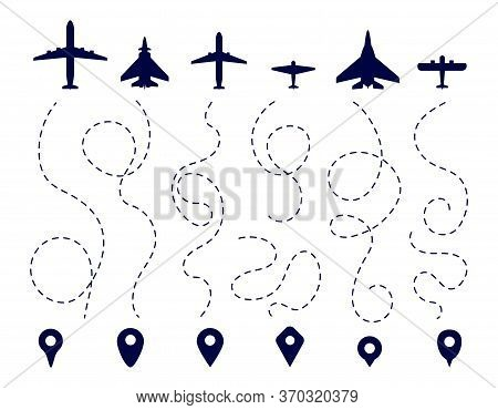 Aircraft Route. Plane Direction Trail. Flight Dotted Line, Aviation Travel Paths. Map Navigation, Pi