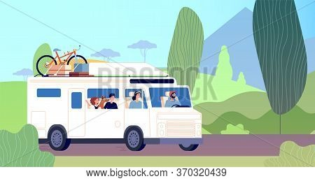 Family Trip. Dad Mother Children Road Travel In Camper. Nature Adventures, Travelling Vacation. Trav