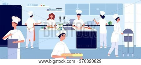 Professional Cooking Kitchen. Restaurant Cook, Commercial Food Industry. Flat Chef And Waiter. Cafe
