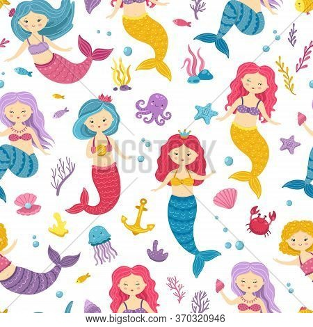 Mermaid Pattern. Printable Underwater Mermaids Background. Cute Nursery Print With Ocean Princesses.