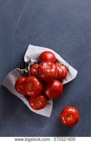Ripe Tomatoes On Grey Background. Healthy Food. Dietetic Foods.