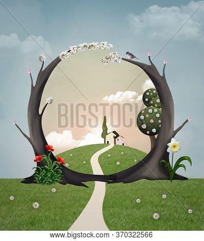 Fantasy Springtime Landscape With A Secret Passage To Wonderland - 3d Illustration