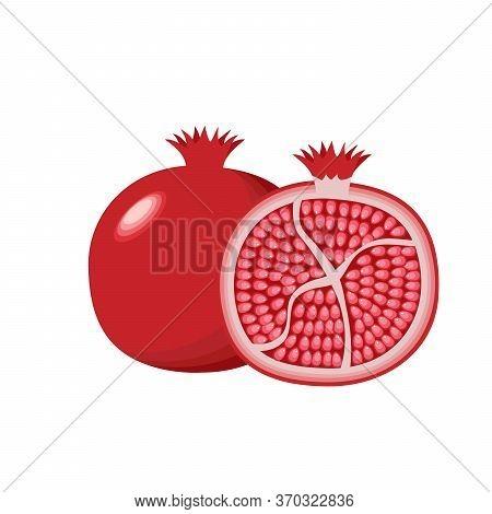 Pomegranate , Logo Isolated On White Background. Whole And Cut Pomegranate Set. Tropic Fruit. Flat V