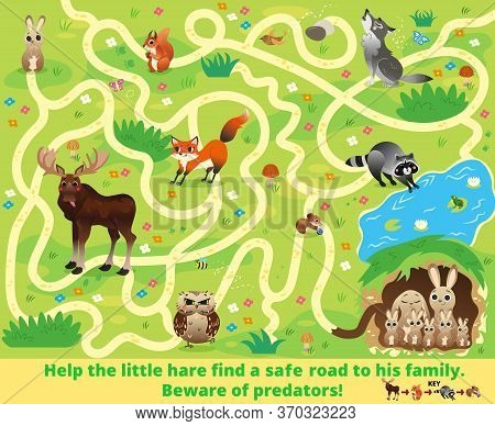 Help The Little Hare Find A Safe Road To His Family. Beware Of Predators! Color Maze Or Labyrinth Ga