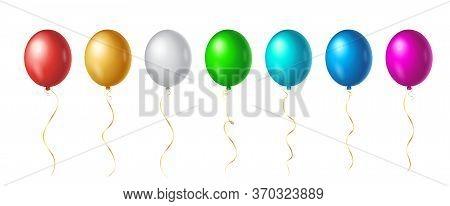 Set Of Flight Up Rainbow Color Helium Balloons On White Background. Realistic Colorful Design Elemen