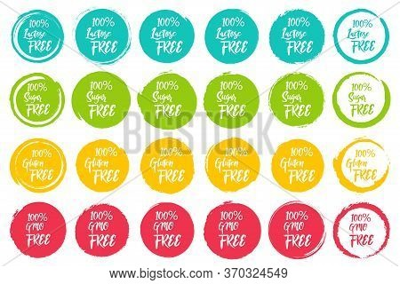 Set Of Round Labels With Text - Lactose Free, Sugar Free, Gluten Free, Gmo Free. Grunge Circles Shap