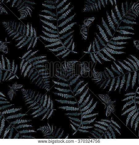Indigo Fern And Moths Branch Blue Indigo Watercolor Hand Drawing Seamless Pattern