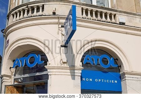 Bordeaux , Aquitaine / France - 06 01 2020 : Atol Optic Blue Logo Sign Optician Shop Glasses Store B