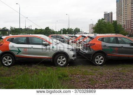 Saint Petersburg, Russia - June 06, 2020: Youdrive Carsharing Company Cars Parked In A Vacant Lot Du