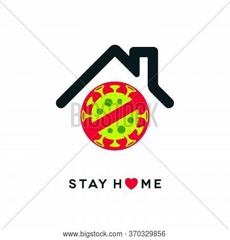 Stay Home Outbreak Concept Design. Stop Sign With Coronavirus Covid-19 Symbol On White Background.