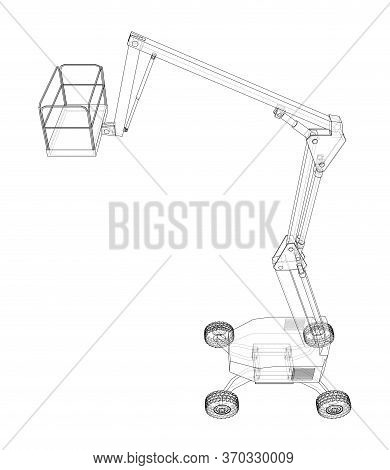 Aerial Platform Concept Outline. Vector Rendering Of 3d. Wire-frame Style. The Layers Of Visible And