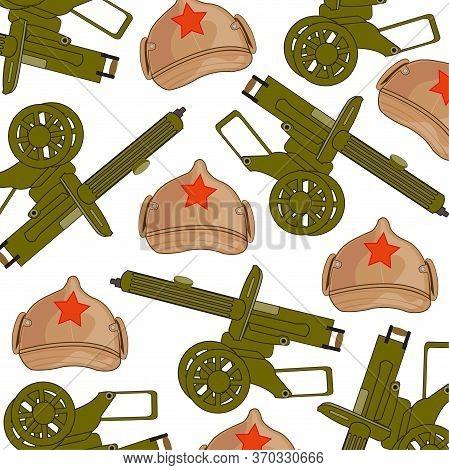 Machine Gun Soviet And Hat Decorative Pattern